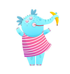 funny kids elephant eating banana in dress vector image vector image