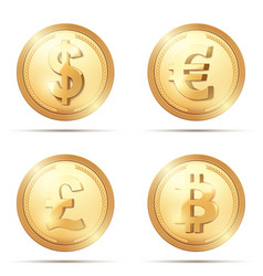 gold coin set with currency sign vector image