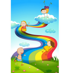 Happy children on rainbow vector