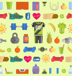 Healthy lifestyle diet icons and sport sneakers vector