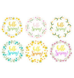 Hello spring set floral frame for text isolated vector
