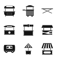 Market stall icon set simple style vector