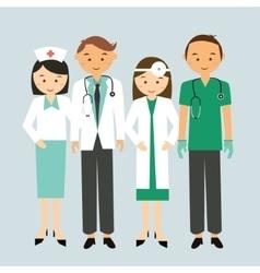 Medical team doctor nurse group worker standing vector