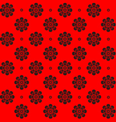 Monochrome pattern symmetrical flower on red vector