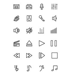Music line icons 1 vector