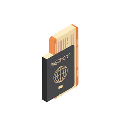 Passport with tickets icon isometric isolated vector