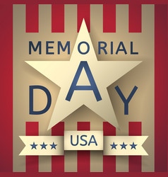 retro memorial day background with the emblem vector image vector image