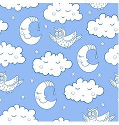 seamless childish pattern with cartoon owl fluffy vector image vector image