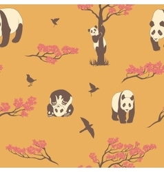Seamless pattern of sakura tree and panda vector image