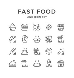 Set line icons of fast food vector