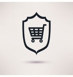 Shopping and shield sign of consumer protection vector