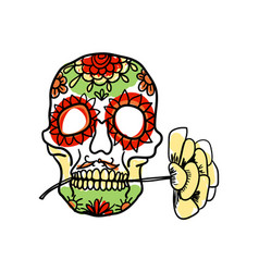 sugar skull hand drawn icon vector image