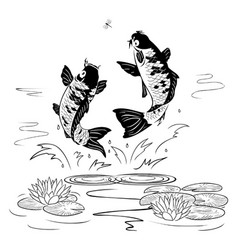 Two carp jump out from water after a dragon-fly vector