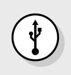 Usb sign flat black icon in vector