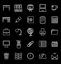 workspace line icons on black background vector image