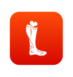 zombie leg icon digital red vector image