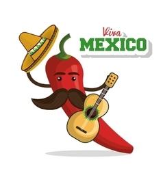 viva mexico poster chili pepper icon vector image