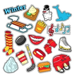 Winter stickers badges patches decoration vector