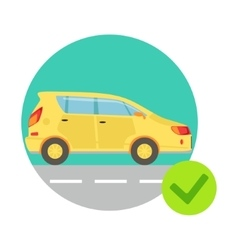 Yellow car in round frame insurance company vector