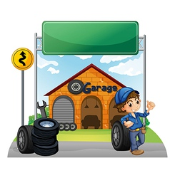 A boy standing beside a wheel outside the garage vector