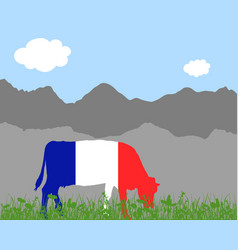 Cow alp and french flag vector