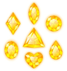 Set of yellow gems isolated on white vector image