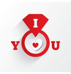 Engagement ring i love you sign red paper heart vector
