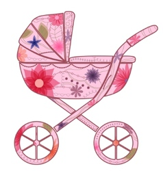 Baby carriage for girl 2 vector image