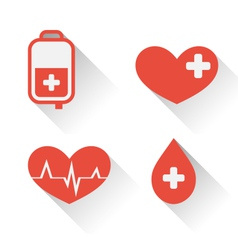 Flat medical icons of donate blood with long vector