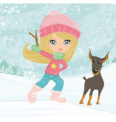 Winter little girl and her dog vector