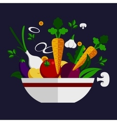 Fresh healthy vegetable cookery ingredients vector