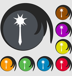 Mace icon sign symbol on eight colored buttons vector