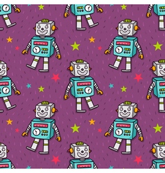 Seamless pattern with vintage toy robot vector