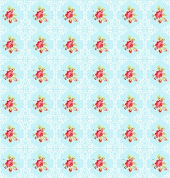 Seamless pattern with red roses and damask vector