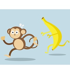 Monkey run away from big banana cartoon vector