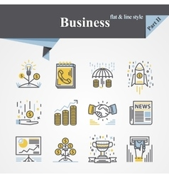 Business flat and line vector