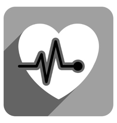 Heart pulse flat square icon with long shadow vector