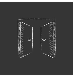 Open doors drawn in chalk icon vector