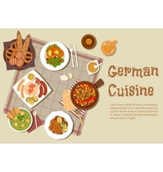 Authentic german meat dishes flat icon vector image