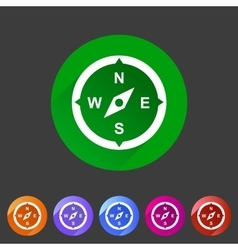 Compass navigation location icon flat web sign vector