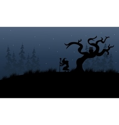 Halloween witch in forest scary vector