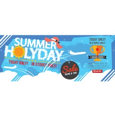 Summer holiday sale banner 1500x600 pixel vector