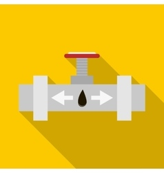 Pipeline with a valve icon flat style vector