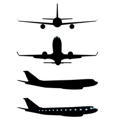 Airplane black silhouette vector