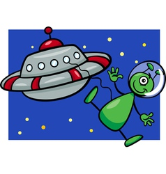 alien with ufo cartoon vector image