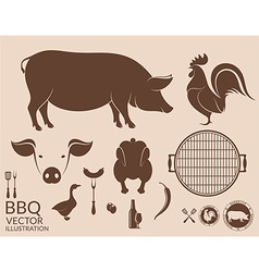 Barbecue grill pig chicken vector