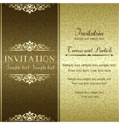 Baroque invitation gold and brown vector