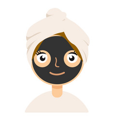 black clay mask on girl face color flat icon for vector image