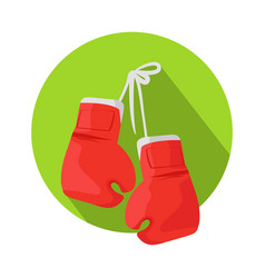 box icon with classic red boxing gloves vector image vector image