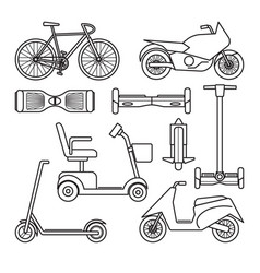 Collection of bike and scooter icons vector